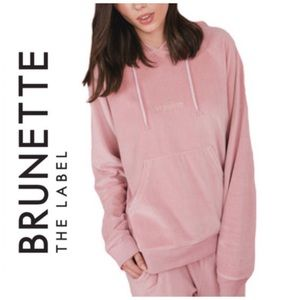 BRUNETTE THE LABEL   Velour Pullover Hoodie Sz S/M
